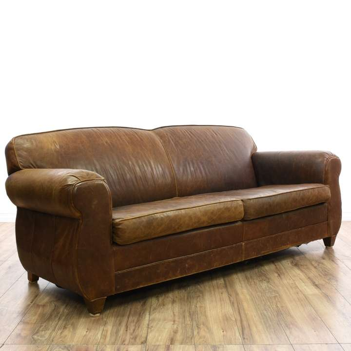 Restoration hardware brown leather sofa loveseat for Restoration hardware furniture quality