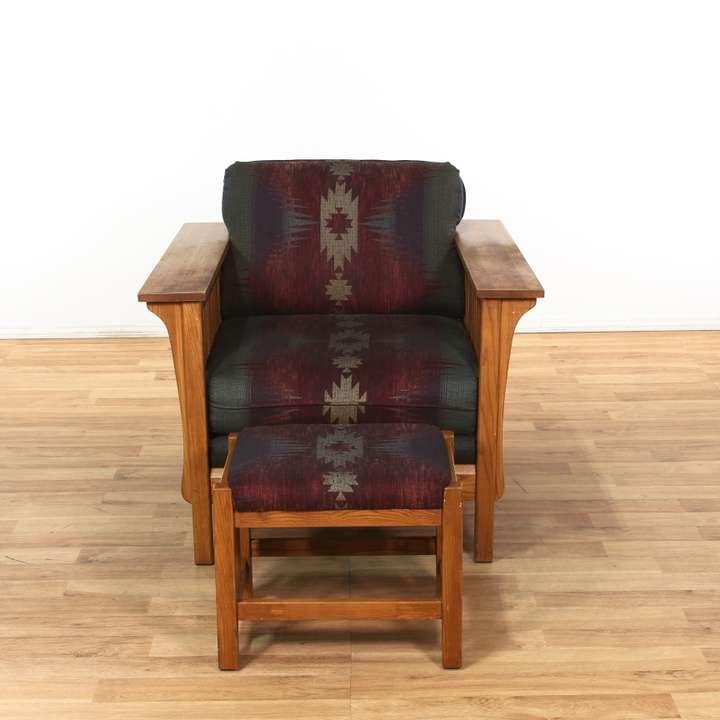 "Bassett Furniture Online: ""Bassett"" Mission Style Southwestern Armchair & Ottoman"
