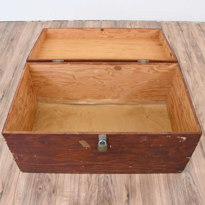 Military Wood Furniture ~ Military trunk in solid wood loveseat vintage furniture