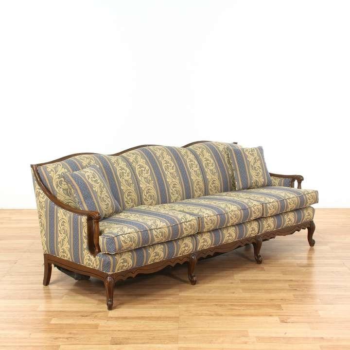 Oak Frame Paisley Print Upholstered Sofa Couch Loveseat