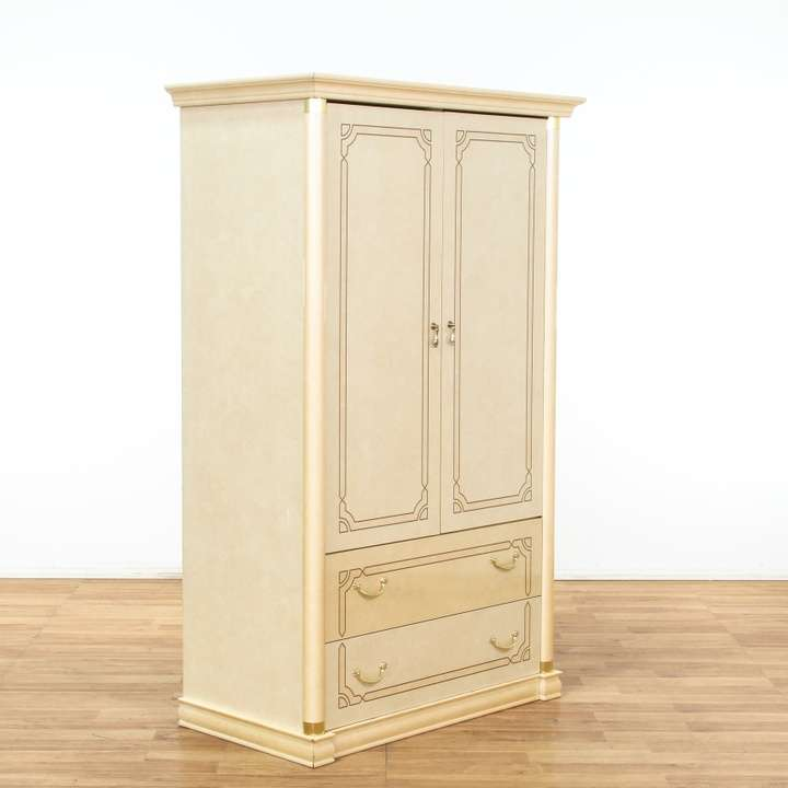 Italian Cream & Gold Armoire