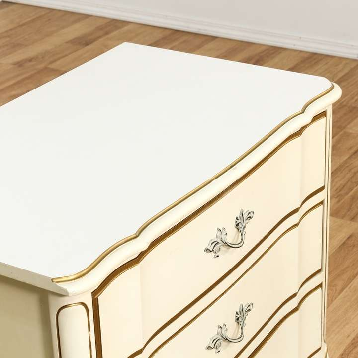 """Vintage Dixie Furniture French Provincial Bedroom Set 7: """"Dixie"""" French Provincial Cream Nightstand"""