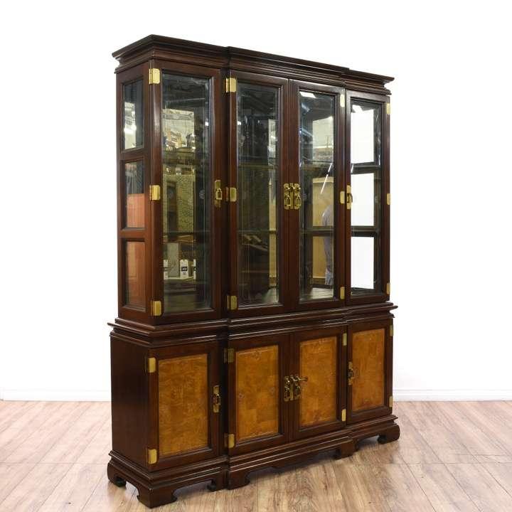 Chippendale Dark Cherry China Cabinet Loveseat Vintage