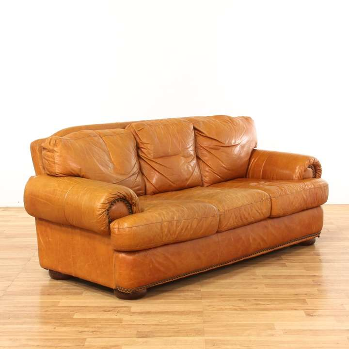 Leather Sofas In Los Angeles: Rustic Tan Leather Sofa W/ Nailhead Trim
