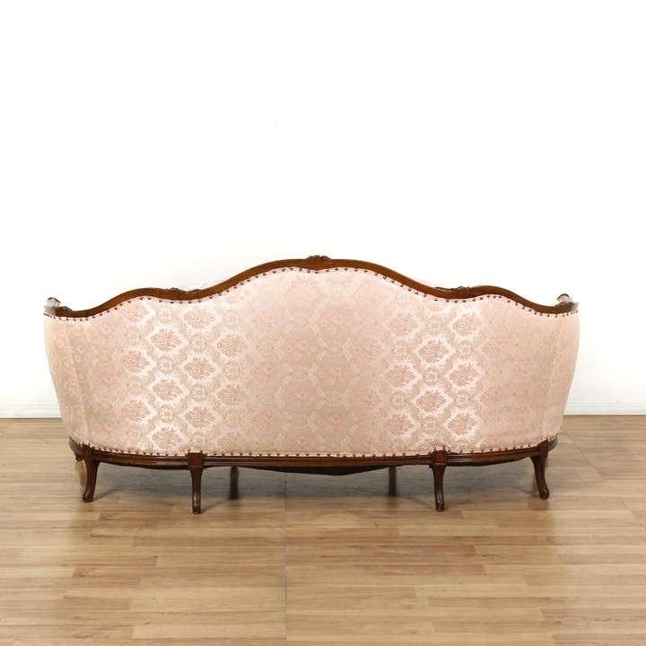 Victorian Carved Pink Tufted Back Wood Frame Sofa