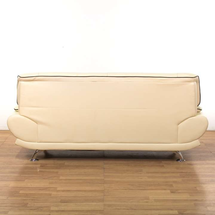 Leather Sofas In Los Angeles: Cream Contemporary Leather Sofa W/ Chrome Legs