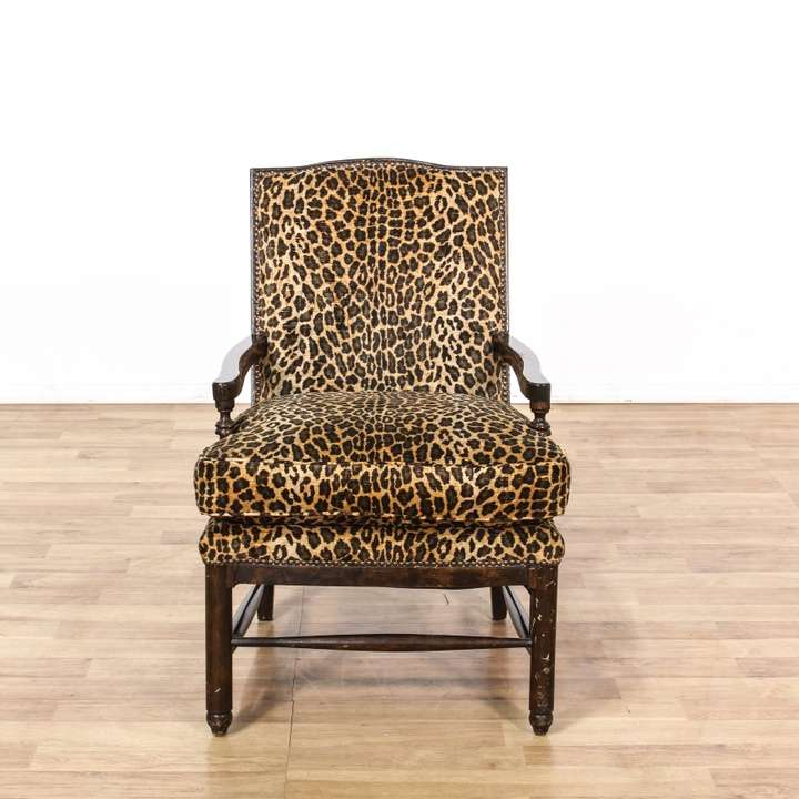 Leopard Print Carved Wood Accent Chair Loveseat Vintage Furniture Los Angeles