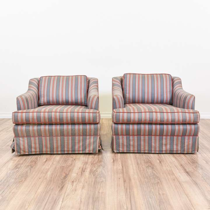 Pair of Blue & Red Striped Swivel Club Armchairs ...