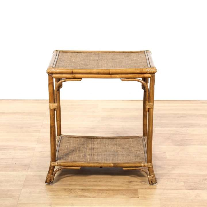 Bohemian Bamboo Amp Rush End Table Loveseat Vintage