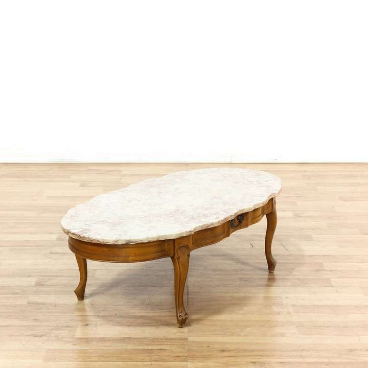 Vintage French Provincial 40 Round Marble Top Coffee: French Provincial Pink Marble Top Coffee Table