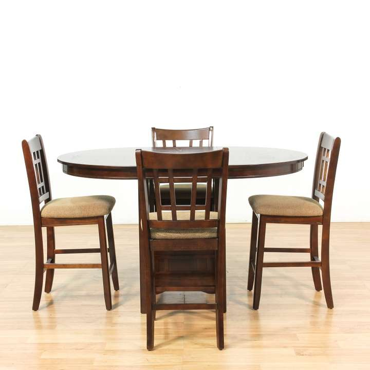 Bar Height Expandable Dining Table W 4 Chairs Loveseat