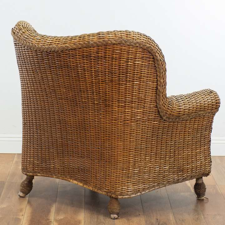 Oversized Wicker Armchair & Ottoman (No Cushions ...