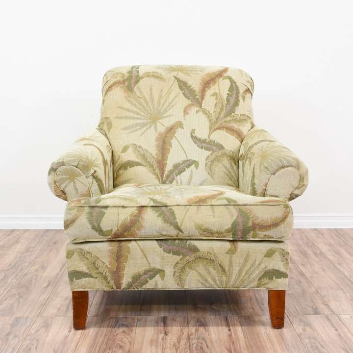 Tropical Print Curved Back Lounge Armchair Loveseat