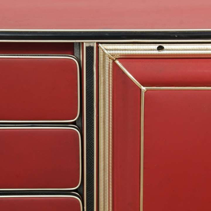 Italian 1950s Red Fabric Wrapped Credenza