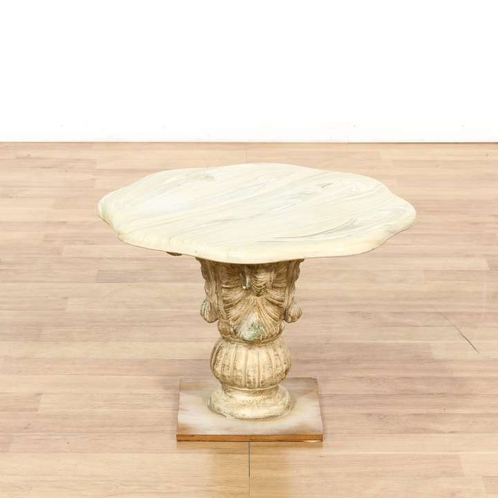 Italian Marble Top Carved Pedestal End Table