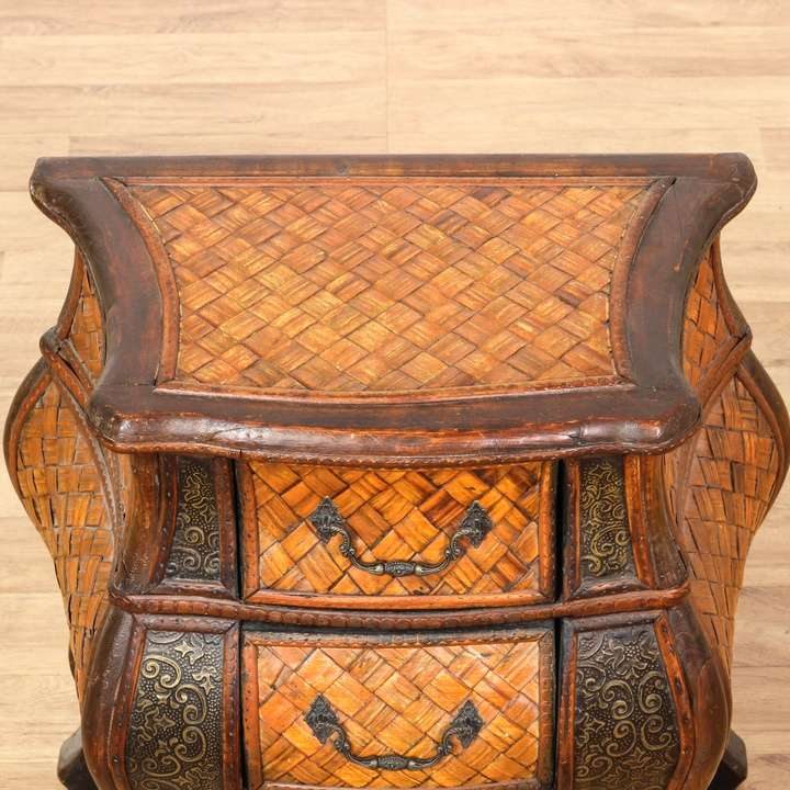 Curved Rattan Bombay Chest Nightstand Loveseat Vintage