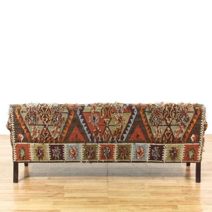Multi Color Aztec Print Bohemian Sofa Couch Loveseat