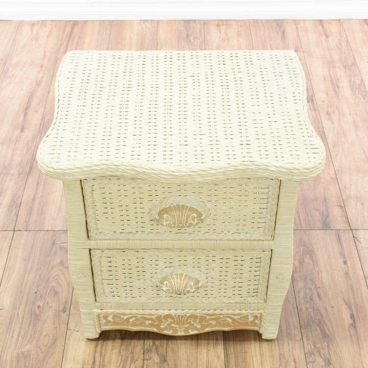 "Pier One Furniture Quality: ""Pier 1"" 2 Drawer Wicker Nightstand"