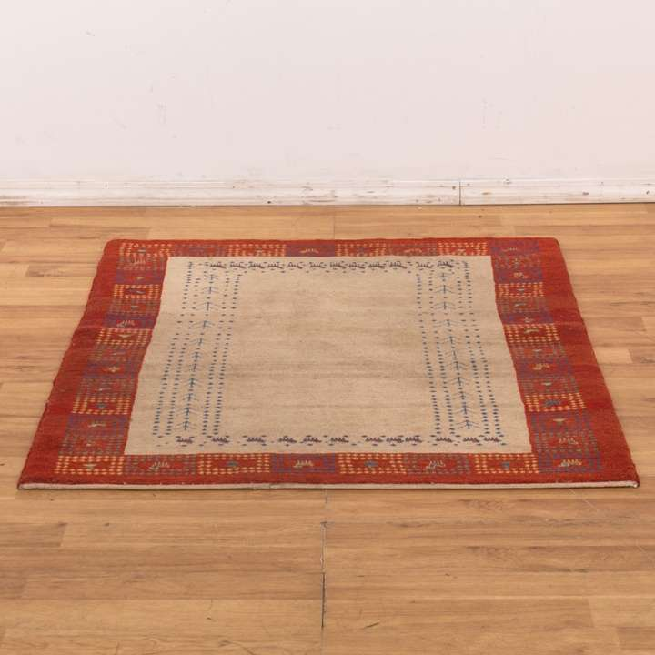 30a8725a1df Wool Area Rug W  Red Border   Tribal Art Detail