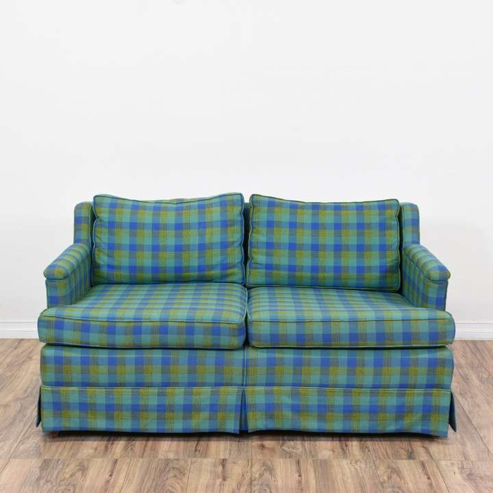 Blue Green Plaid Sofa 2 Loveseat Vintage Furniture San Diego