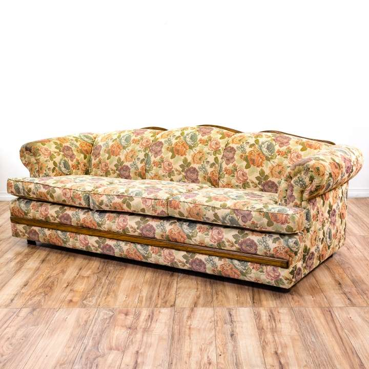 Tropical 80 S Neon Floral Sofa Loveseat Vintage