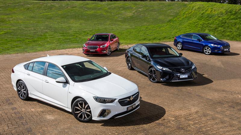Holden Commodore RS v Ford Mondeo Trend v Toyota Camry SX v Subaru