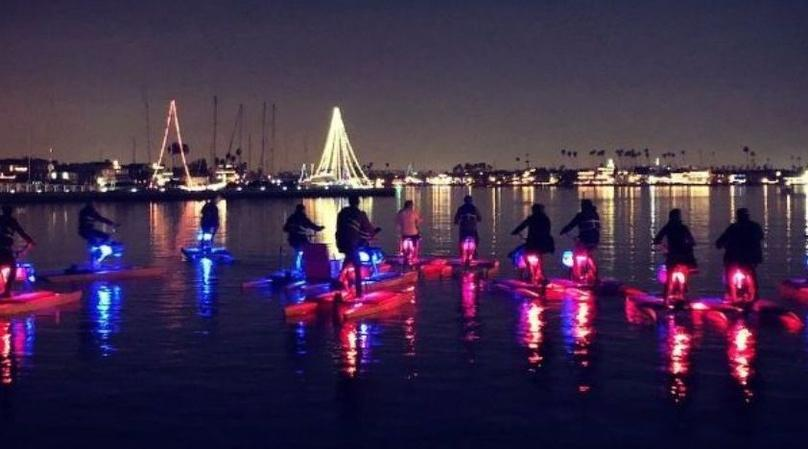 Hydrobike Nighttime Glow Ride on Alamitos Bay