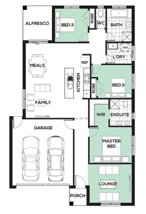Single storey 3 beds 2 living 19sq