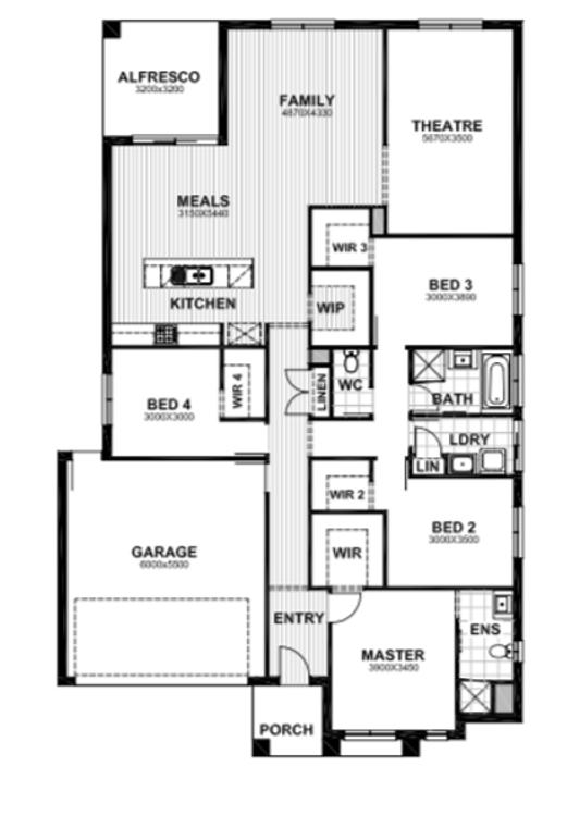 4 bed single storey home design
