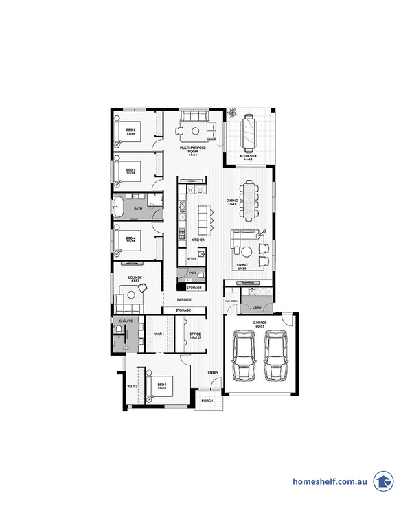 4 bed 3 living single storey plan