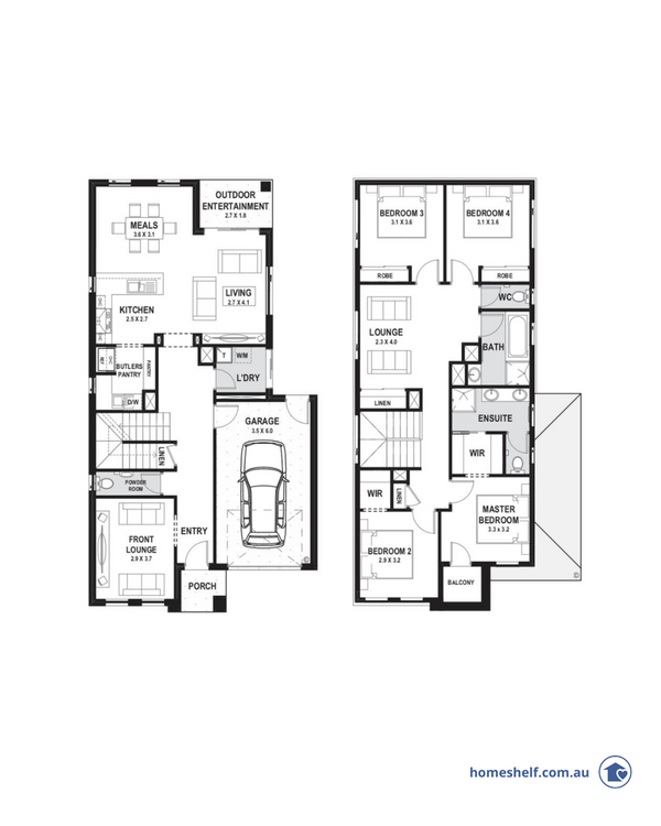 Narrow block double storey floor plan, 10.5m frontage, Omnia Homes