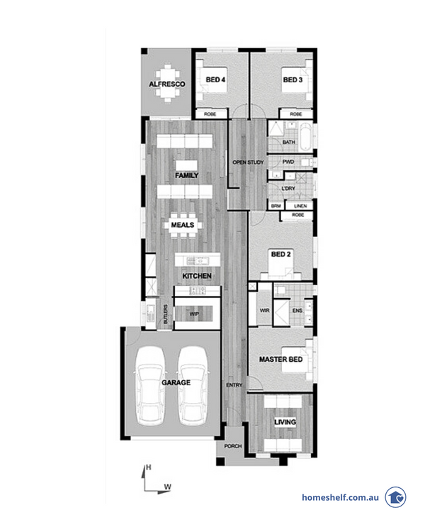 12.5m lot width new build home design, 26sq
