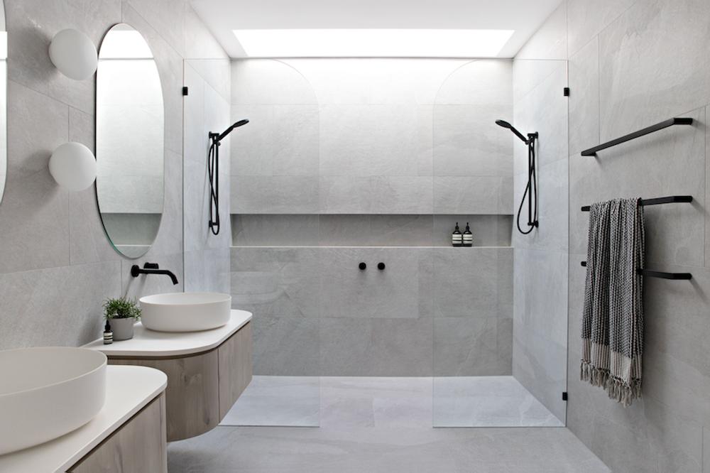 shower shelf in bathroom