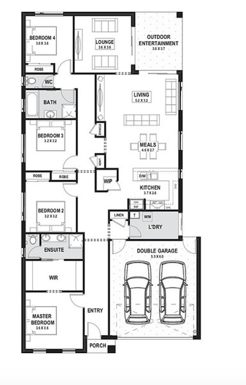4 bed single storey 12.5m frontage