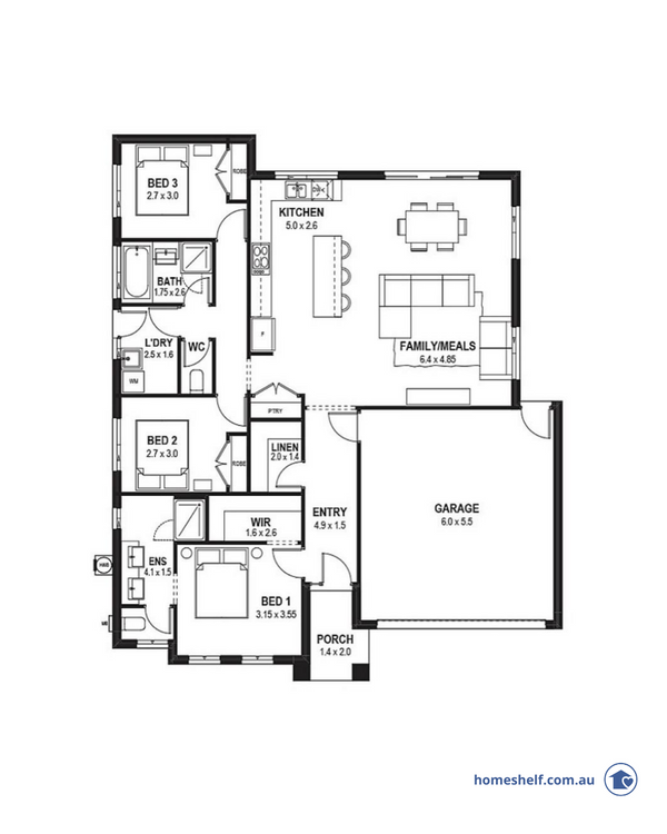 Three bedroom plan with wide frontage by First Place Building