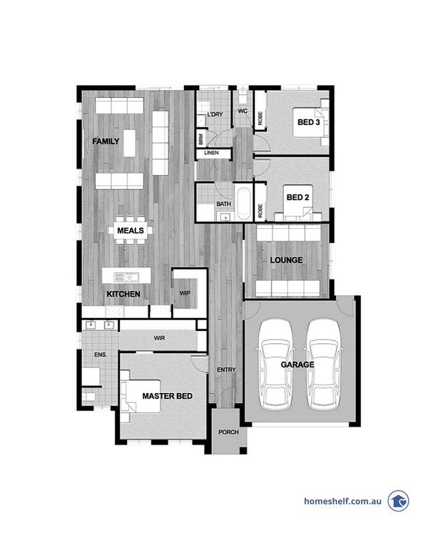 Three bedroom plan with wide frontage by Dulger Homes