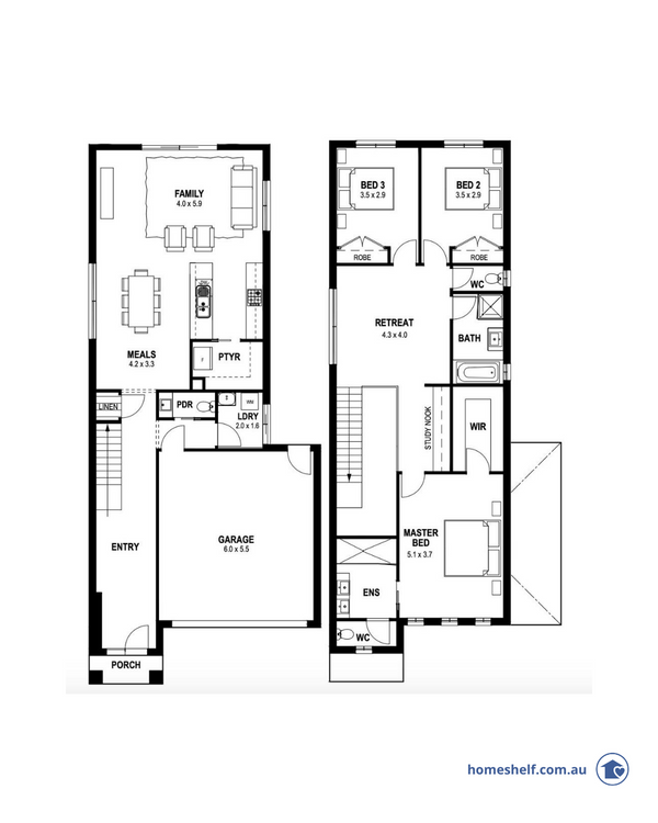 Narrow block double storey floor plan, 10m frontage, First PlaceHomes