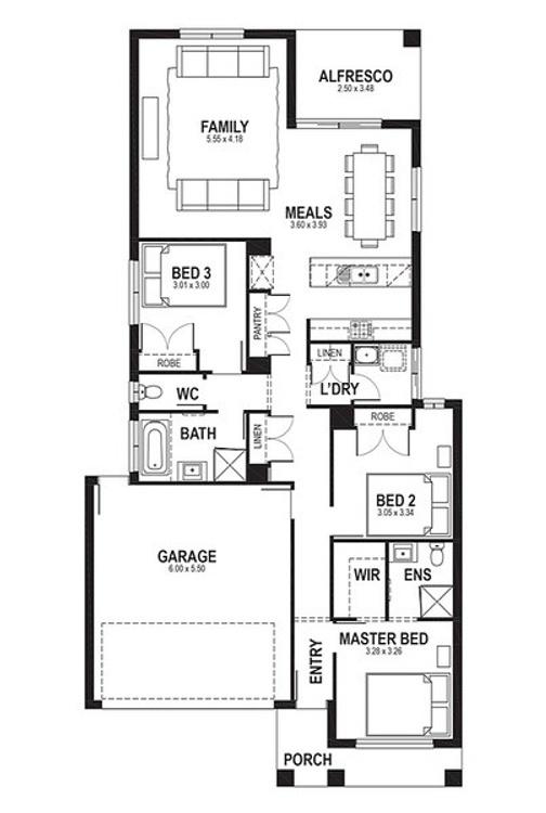 3 bed single storey plan under 20sq