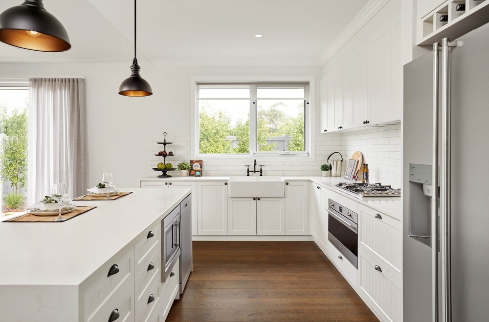 beautiful farm house kitchen in this award winning display home by beachwood homes