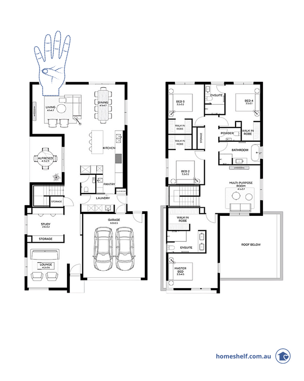 Double storey 4 bed stody 3 living floor plan, Olie by Arli Homes