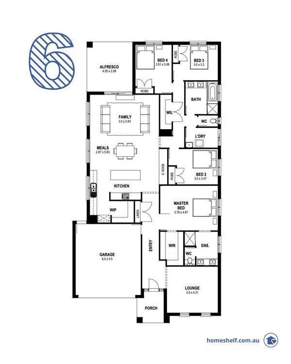 Single storey 4 bed 2 living floor plan, Patterson 28 by First Place Building
