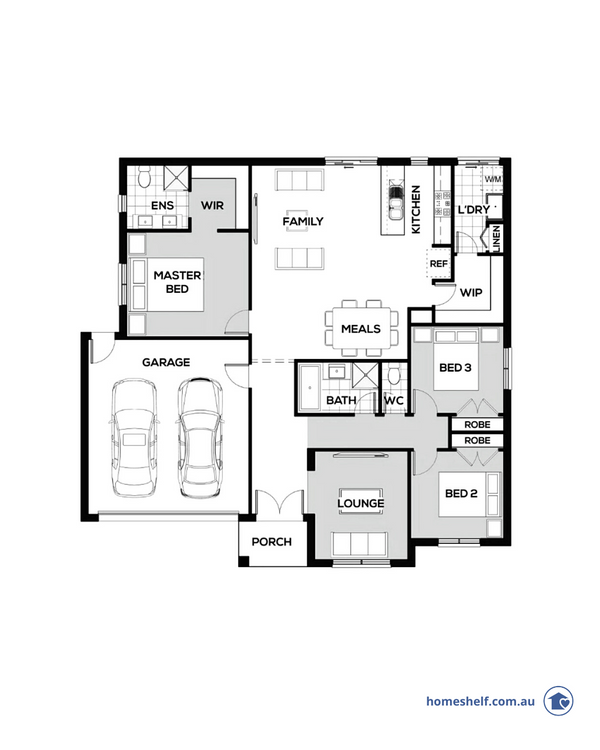 Three bedroom plan with wide frontage by Omnia Homes