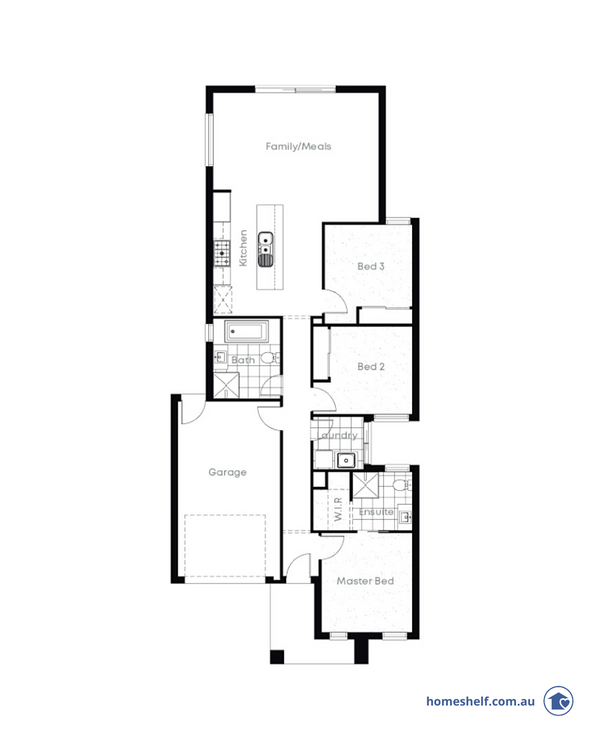 Narrow block floor plan, 8.5m frontage, Avida Homes