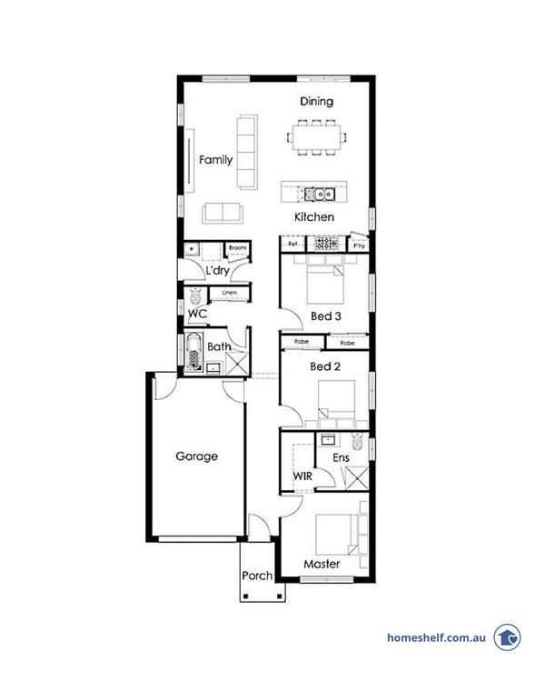 Narrow block floor plan, 10m frontage, Highmark Homes
