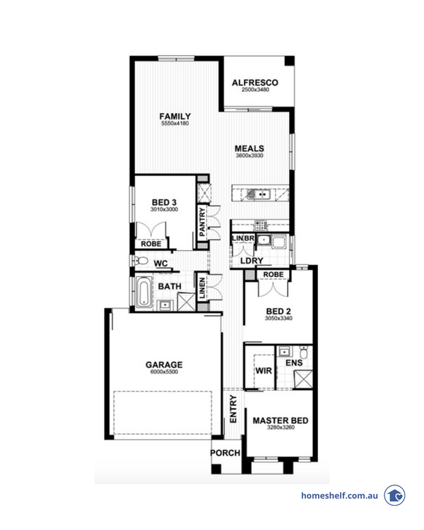 Narrow block floor plan, 10.5m frontage, Sherridon Homes