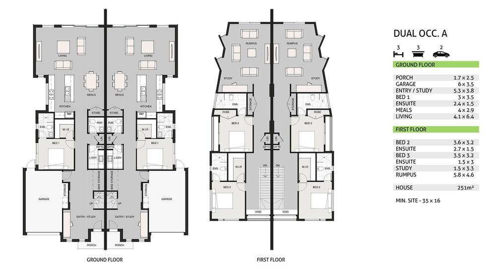 duplex double storey floorplan from berstan homes