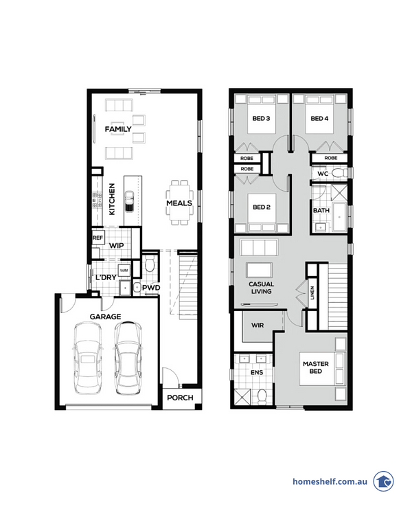 Narrow block double storey floor plan, 10m frontage, Omnia Homes