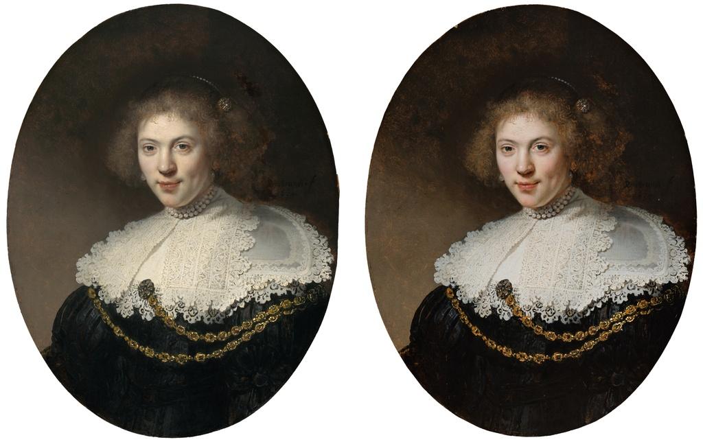 Rembrandt Harmensz van Rijn Portrait Women Gold Chain Before After Restoration