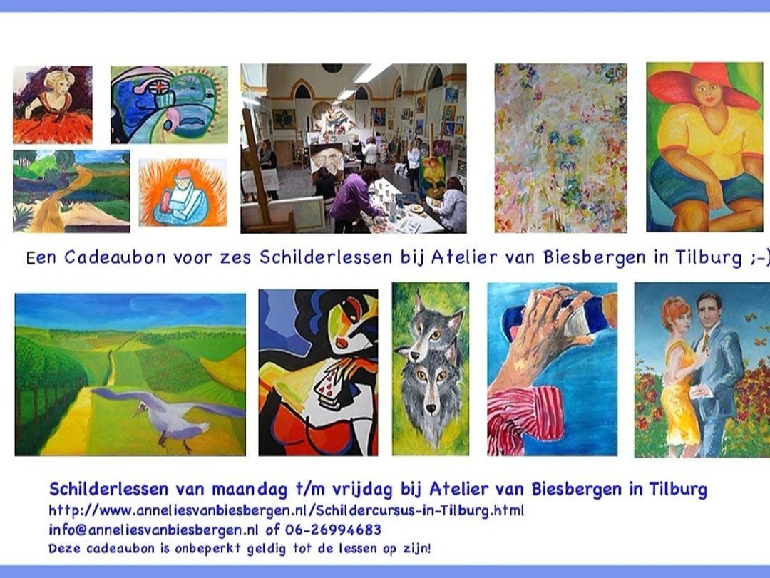Zes schilderlessen in  een Atelier in Centrum Tilburg,