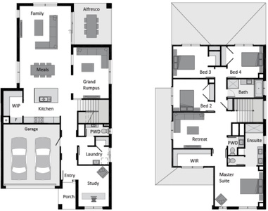 double storey with multiple living areas